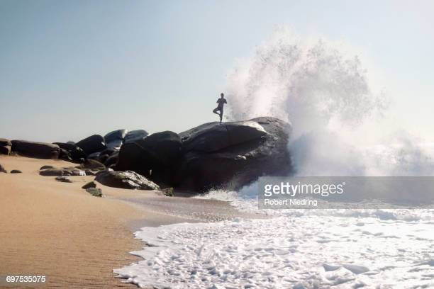 woman doing tree pose yoga on rock at beach, western province, sri lanka - brandung stock-fotos und bilder