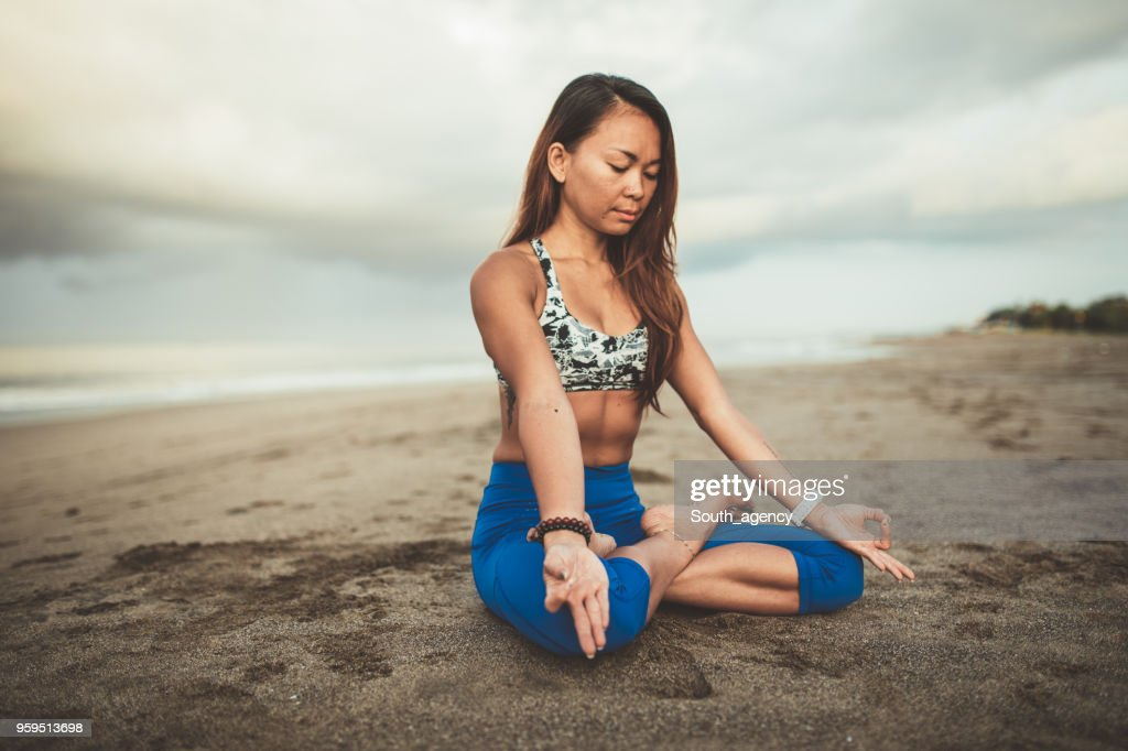Woman Doing Yoga : Stock Photo