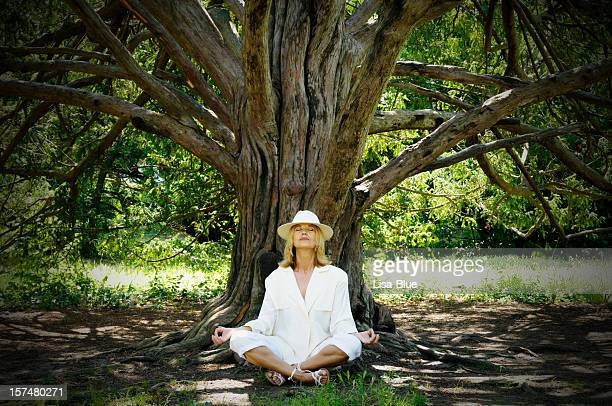 Woman Doing Yoga Under A Tree