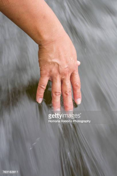 woman dragging hand in water - dragging stock pictures, royalty-free photos & images