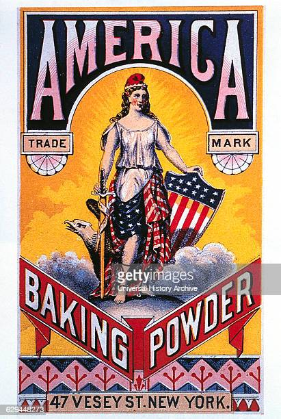 Woman Draped in American Flag American Baking Powder Trade Card circa 1880