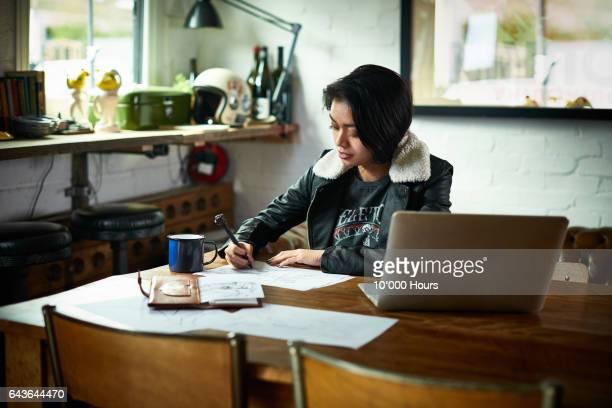 Woman drawing at desk.