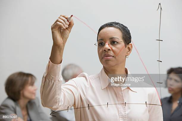 Woman drawing graph on glass