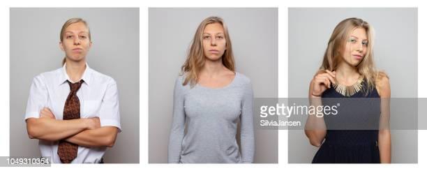 frau gekleidet und handeln in verschiedenen geschlechterrollen männliche und weibliche - identität stock-fotos und bilder