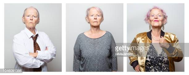 """woman dressed and acting in different gender roles """"u2013 male and female - transvestite stock photos and pictures"""