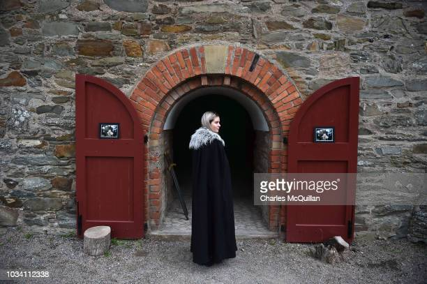 Woman dressed as a character from the Game of Thrones series waits at a photo booth as the Winterfell Festival takes place at Castle Ward on...