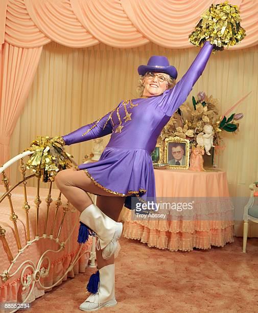 Woman dressed as a cheerleader