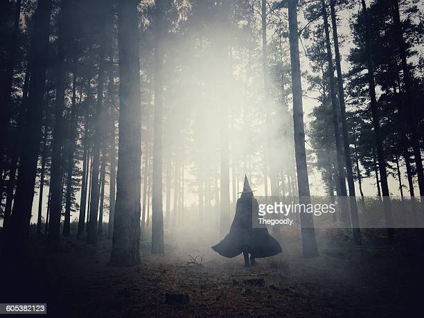 Woman dressed as a witch walking through the forest