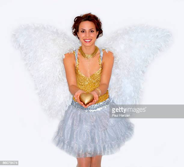 Woman dressed as angel