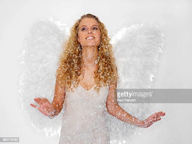 Woman dressed as angel