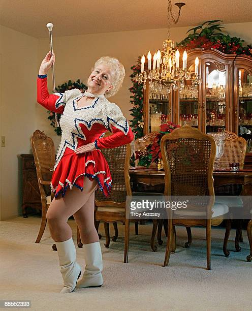Woman dressed as drum majorette