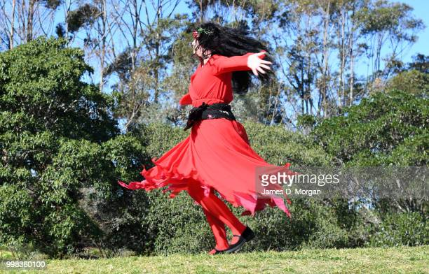 Woman dressed as Kate Bush joins with hundreds of others on July 14, 2018 in Sydney, Australia. The Most Wuthering Heights Day is when people all...