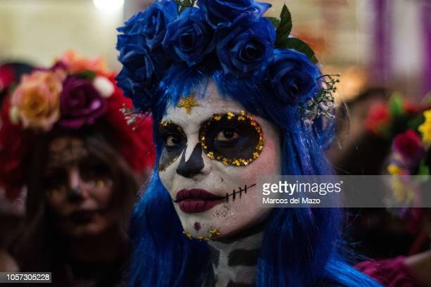 Woman dressed as the Catrina, the Mexican traditional representation of death, pictured ahead of a Catrina contest as part of the celebrations of the...
