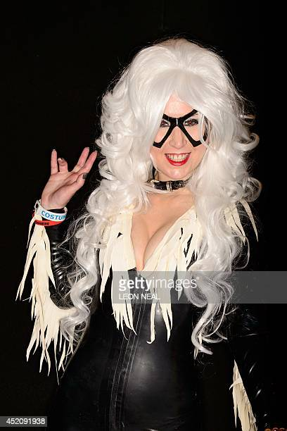 A woman dressed as the character Black Cat from The Amazing SpiderMan comics and films at the London Film and Comic Con 2014 in Earls Court west...