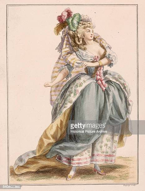 A woman dressed in an elaborate costume based on the opera La Travesti from a design by Watteau