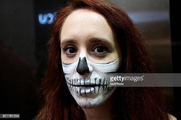 Woman dressed in costumes stand for a photo during Comicdom Con Festival a threeday comics festival took place at the Hellenic American Union in...