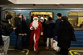 moscow russia woman dressed santa alights
