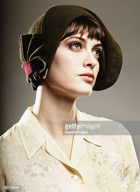Woman dressed in vintage clothing