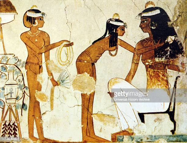 Woman dressing detail from a wall painting New Kingdom 18th dynasty 15671320 BC Tomb of Djeserkareseneb Thebes Djeserkareseneb was an administrative...