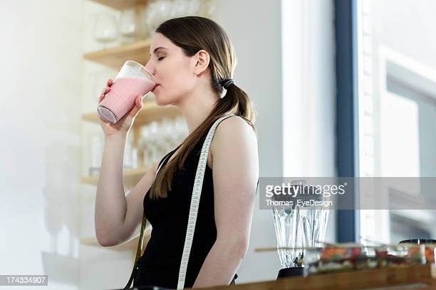 Woman Drinking a Meal Replacement Shakes