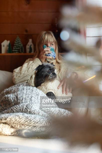 woman drinking and cuddling dog on sofa at home - heshphoto stock pictures, royalty-free photos & images