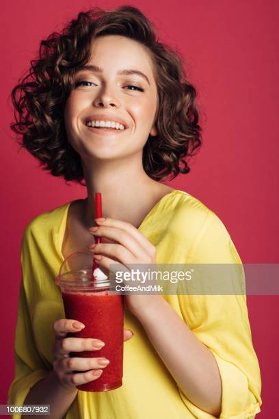 Woman drinking detox juice