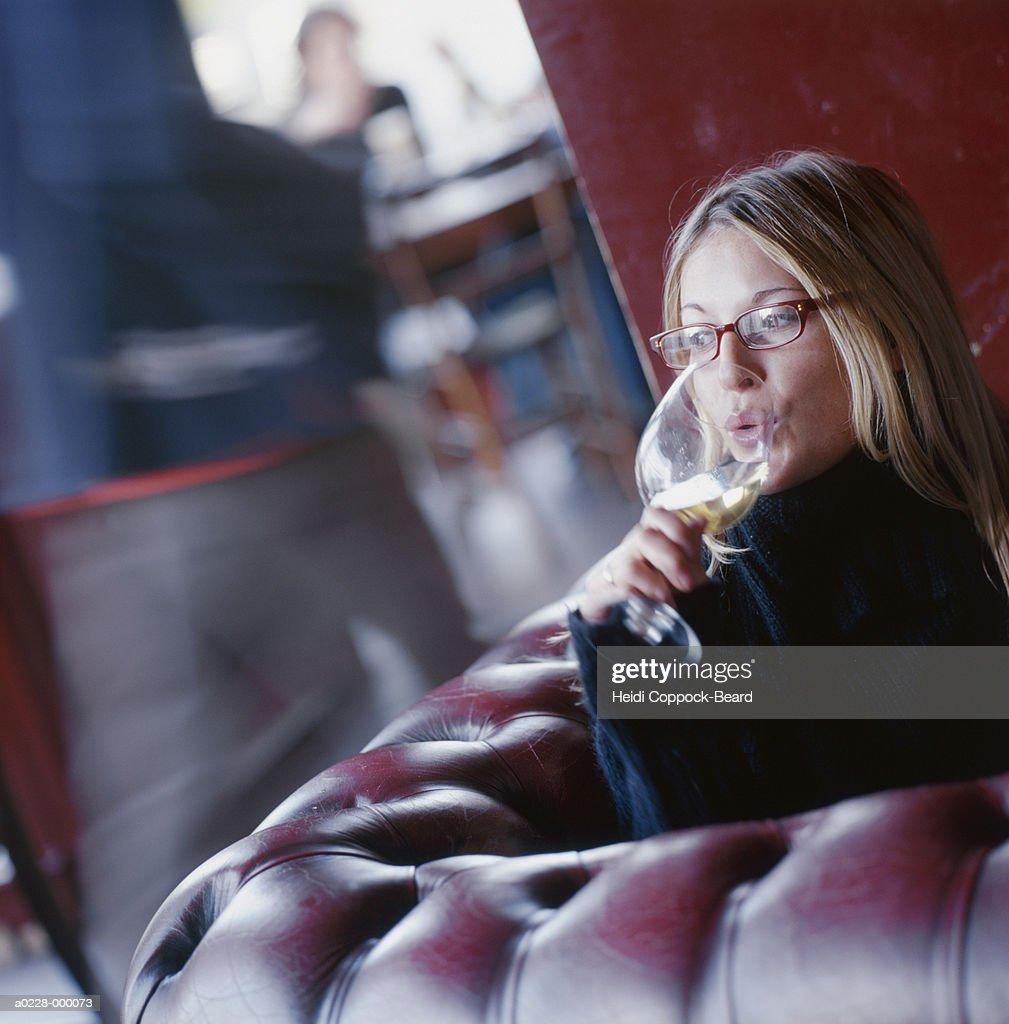 Woman Drinking Glass of Wine : Stock Photo