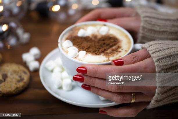 woman drinking hot chocolate with marshmallows - icing sugar stock pictures, royalty-free photos & images