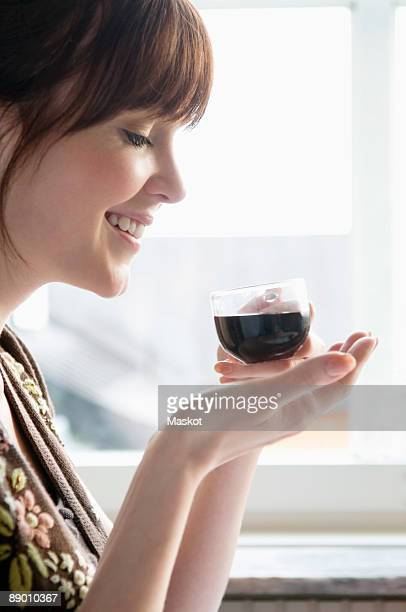 Woman drinking mulled wine