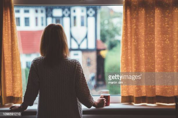 woman drinking tea at home - looking through window stock pictures, royalty-free photos & images