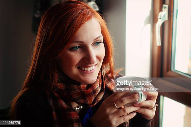 woman drinking tea - ginger lynn stock pictures, royalty-free photos & images