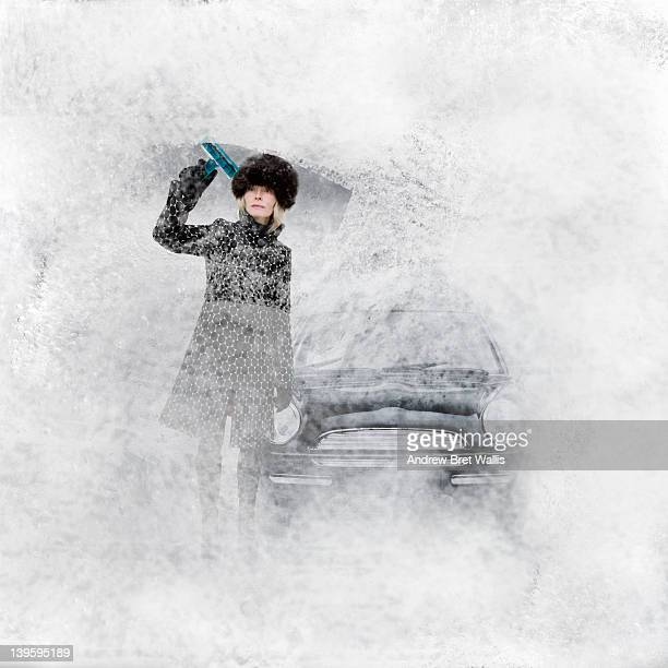 woman driver & car inside a block of ice - frozen stock pictures, royalty-free photos & images