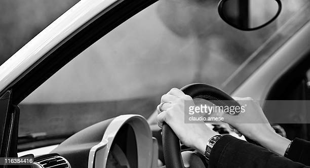 Woman Driving a Car. Black and White