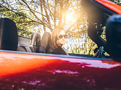 woman driving a red convertible in forest