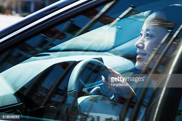 Woman driving car with flags reflection in windows