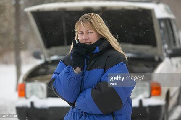 Woman Droken Down in Winter