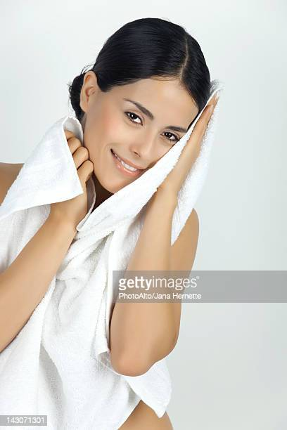 woman drying off with towel, portrait - knickers off stock pictures, royalty-free photos & images