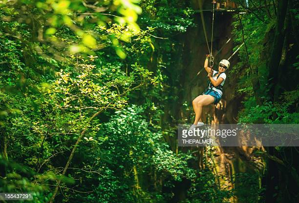 woman during a canopy tour costa rica - treetop stock pictures, royalty-free photos & images