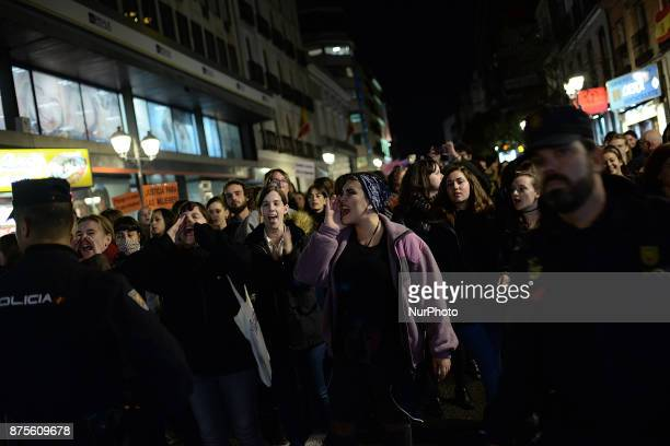 A woman during a protest against violence against women in Madrid Spain on 17th November 2017