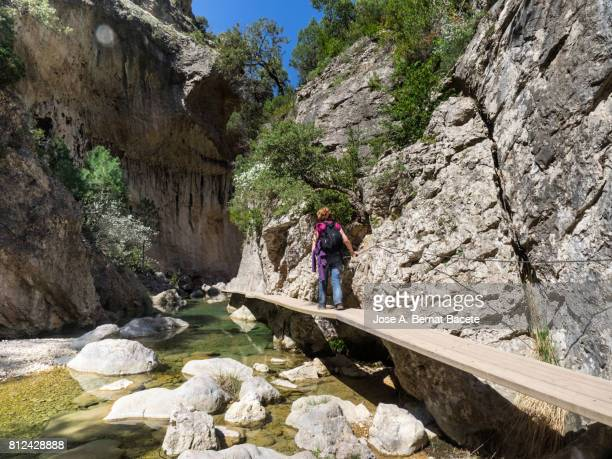 Woman during an excursion walking along a path of wood over a river that passes for a narrow ravine.El Parrisal - Moletes de Arany (Beceite), Teruel, Spain