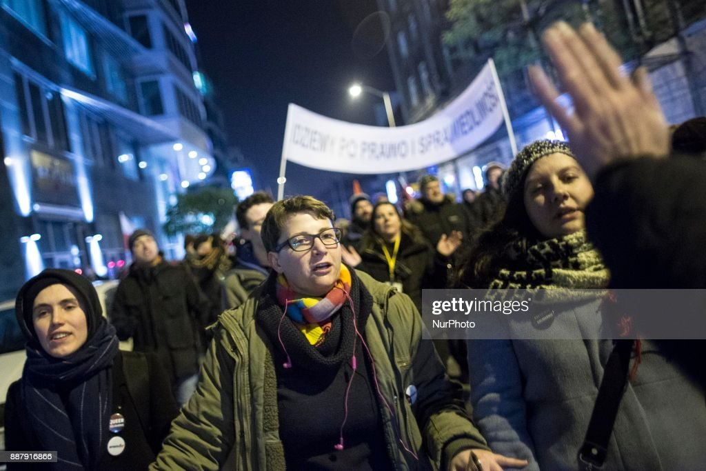Woman during illegal demonstration near Polish parliament organized by opposition group Obywatele RP in Warsaw on December 7, 2017.