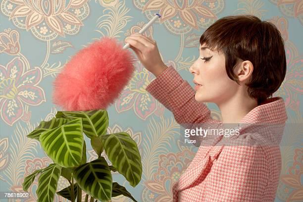 Woman Dusting Houseplant