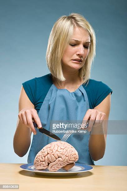 woman eating brain food