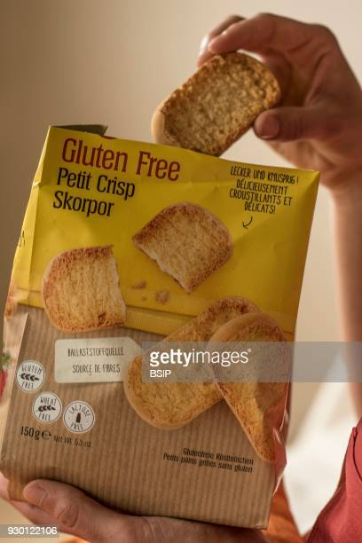 Woman eating glutenfree crisp bread