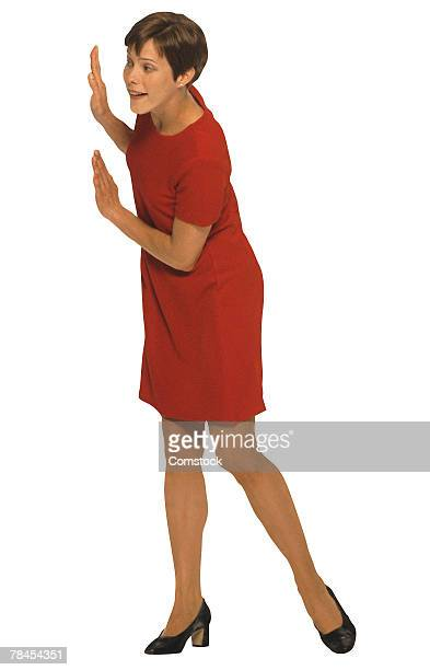 Woman eavesdropping