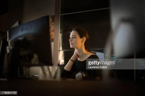 woman elegance computer - reflection stock pictures, royalty-free photos & images