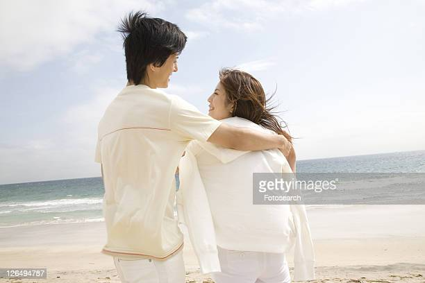 Woman embraced lover's arm