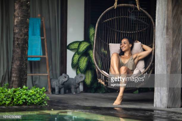 woman enjoy on her vacation - escaping stock pictures, royalty-free photos & images