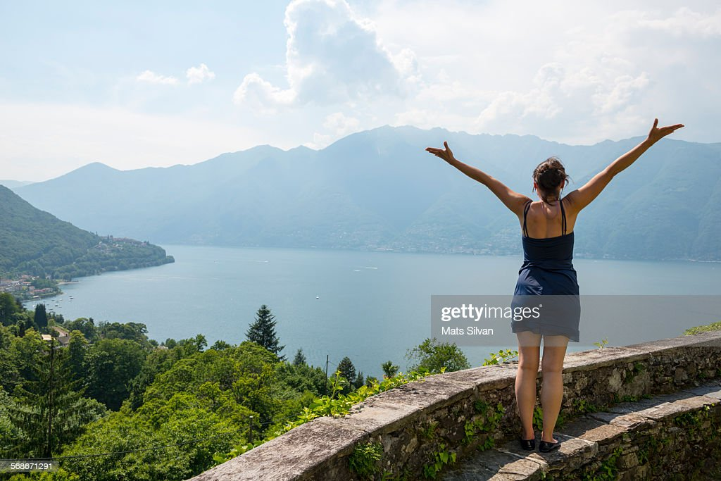 Woman enjoy panoramic view : Stock Photo