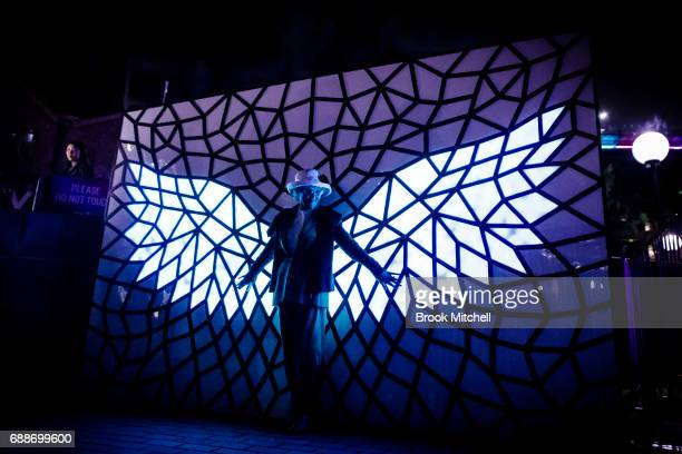 A woman enjoying a light installation during Vivid on May 26 2017 in Sydney Australia Vivid Sydney is an annual festival that features light...